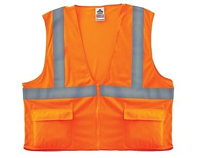Ergodyne® GloWear® 8220Z Class 2 Hi-Visibility Standard Vest, Orange, 4XL/5XL