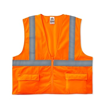 Ergodyne® GloWear® 8225Z Class 2 Hi-Visibility Standard Vest, Orange, Small/Medium