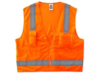 Ergodyne® GloWear® 8250Z Class 2 Hi-Visibility Surveyors Vest, Orange, 4XL/5XL
