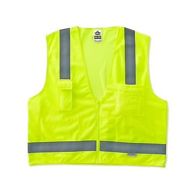 Ergodyne® GloWear® 8250Z Class 2 Hi-Visibility Surveyors Vest, Lime, Small/Medium