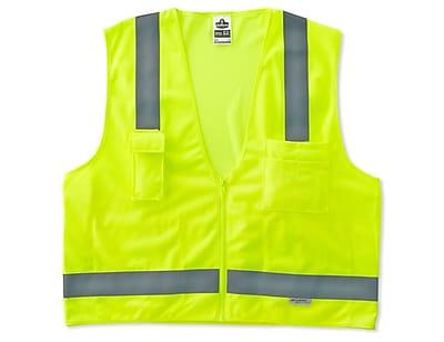 Ergodyne® GloWear® 8250Z Class 2 Hi-Visibility Surveyors Vest, Lime, 4XL/5XL