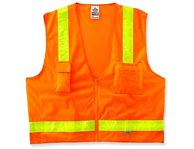 Ergodyne® GloWear® 8250ZHG Class 2 Hi-Gloss Surveyors Vest, Orange, 4XL/5XL