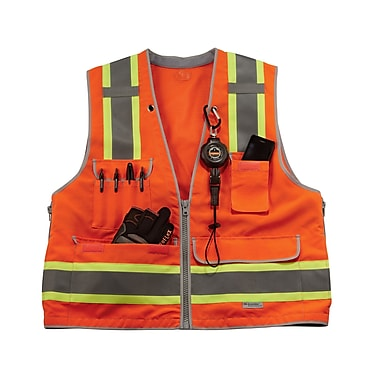 Ergodyne® GloWear® 8254Z Class 2 Heavy-Duty Hi-Visibility Surveyors Vest, Orange, 4XL/5XL