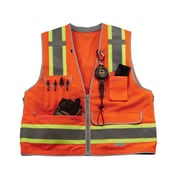 Ergodyne® GloWear® 8254Z Class 2 Heavy-Duty Hi-Visibility Surveyors Vest, Orange, Small/Medium