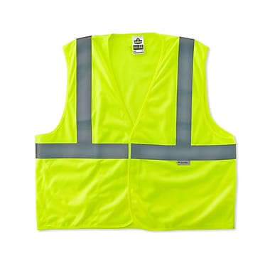 Ergodyne® GloWear® 8255HL Class 2 Hi-Visibility Treated Poly Vest, Lime, Small/Medium