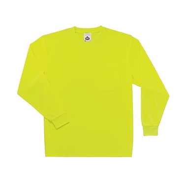 Ergodyne® GloWear® 8091 Non-Certified Hi-Visibility Long Sleeve Safety T-Shirt, Lime, 2XL