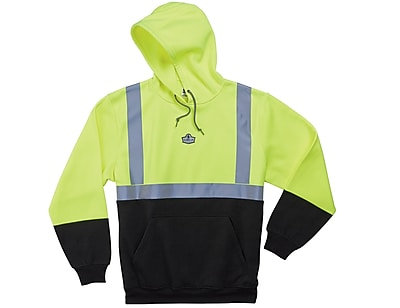 Ergodyne® GloWear® 8293 Class 2 Hi-Visibility Hooded Sweatshirt, Lime/Black, 5XL