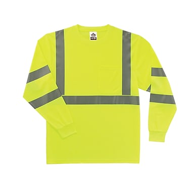 Ergodyne® GloWear® 8391 Class 3 Hi-Visibility Long Sleeve T-Shirt, Lime, Medium