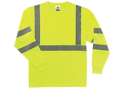Ergodyne® GloWear® 8391 Class 3 Hi-Visibility Long Sleeve T-Shirt, Lime, Small