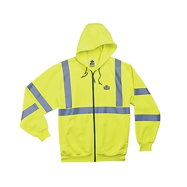 Ergodyne® GloWear® 8392 Class 3 Hi-Visibility Zipper Hooded Sweatshirt, Lime, 5XL