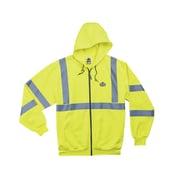 Ergodyne® GloWear® 8392 Class 3 Hi-Visibility Zipper Hooded Sweatshirt, Lime, Large