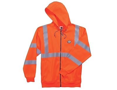 Ergodyne® GloWear® 8392 Class 3 Hi-Visibility Zipper Hooded Sweatshirt, Orange, Small