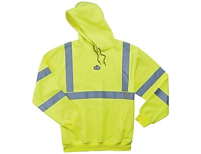 Ergodyne® GloWear® 8393 Class 3 Hi-Visibility Hooded Sweatshirt, Lime, Medium