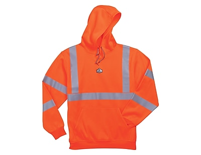 Ergodyne® GloWear® 8393 Class 3 Hi-Visibility Hooded Sweatshirt, Orange, Small