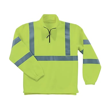 Ergodyne® GloWear® 8399 Class 3 Hi-Visibility 1/2 Zip Sweatshirt, Lime, Medium