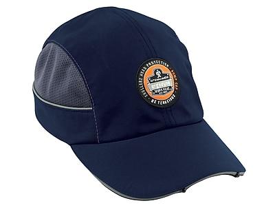 Ergodyne® Skullerz Nylon Taslan Short Brim Bump Cap With LED Lighting Technology, Navy