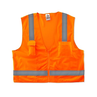 Ergodyne® GloWear® 8249Z Class 2 Hi-Visibility Economy Surveyors Vest, Orange, Large/XL