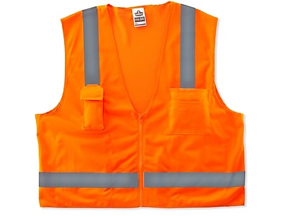 Ergodyne® GloWear® 8249Z Class 2 Hi-Visibility Economy Surveyors Vest, Orange, 4XL/5XL