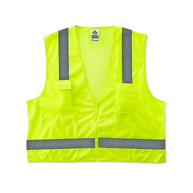 Ergodyne® GloWear® 8249Z Lime Class 2 Hi-Visibility Economy Surveyors Vests