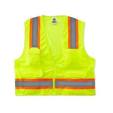 Ergodyne® GloWear® 8248Z Class 2 Hi-Visibility Two-Tone Surveyors Vest, Lime, Large/XL