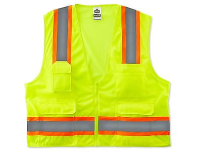 Ergodyne® GloWear® 8248Z Class 2 Hi-Visibility Two-Tone Surveyors Vest, Lime, Small/Medium