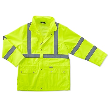 Ergodyne® GloWear® 8365 Class 3 Hi-Visibility Rain Jacket, Lime, Medium