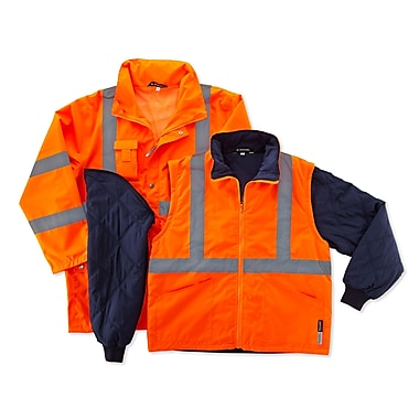 Ergodyne® GloWear® 8385 Class 3 Hi-Visibility 4-in-1 Jacket, Orange, Small