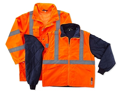 Ergodyne® GloWear® 8385 Class 3 Hi-Visibility 4-in-1 Jacket, Orange, 5XL
