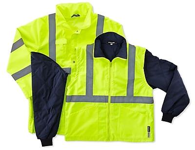 Ergodyne® GloWear® 8385 Class 3 Hi-Visibility 4-in-1 Jacket, Lime, XL