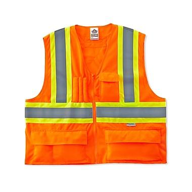 Ergodyne® GloWear® 8235ZX Class 2 Hi-Visibility Two-Tone X-Back Vest, Orange, Large/XL