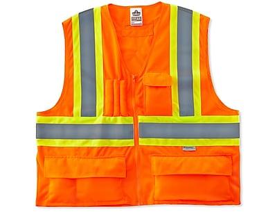 Ergodyne® GloWear® 8235ZX Class 2 Hi-Visibility Two-Tone X-Back Vest, Orange, 2XL/3XL