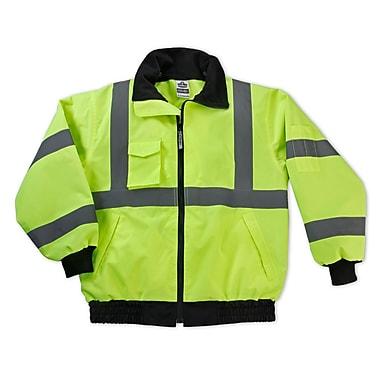 Ergodyne® GloWear® 8379 Class 3 Hi-Visibility Economy Bomber Jacket, Lime, 2XL