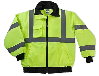 Ergodyne® GloWear® 8379 Class 3 Hi-Visibility Economy Bomber Jacket, Lime, M