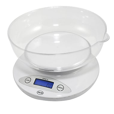 American Weigh Scales 5KBOWL Digital Kitchen Bowl Scale, White