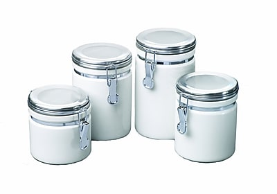 Anchor Hocking 4 Piece Ceramic Canister Set With Clamp Top Chrome Lids 44765