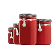 Anchor Hocking® 4 Piece Ceramic Canister Set, Red