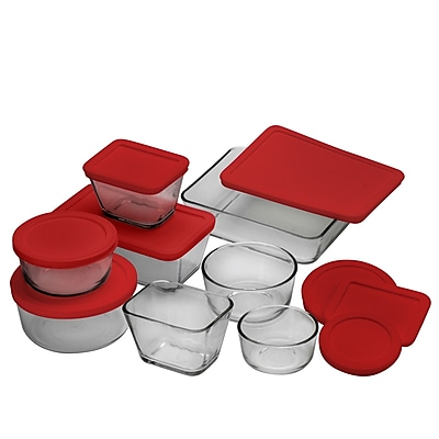 Anchor Hocking Kitchen Storage Set With Red Plastic Lids, 16 Piece/Set 44748