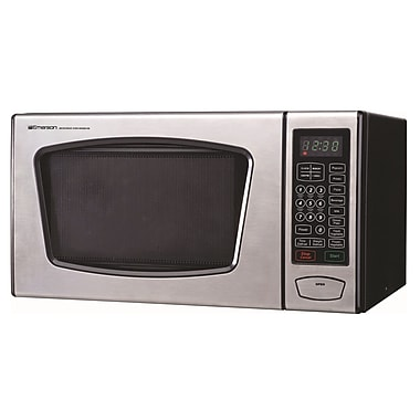 Emerson Radio™ 900 W Countertop Microwave Oven, Stainless Steel/Black
