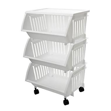 Home Homz® 3 Tier Mobile Cart, White