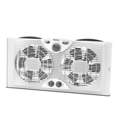 "Jarden Home Environment Holmes™ 9"" Twin Window Fan With Manual Thermostat, White"