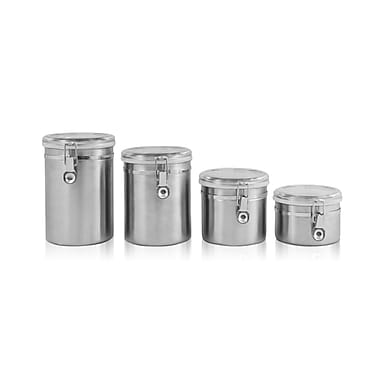 Ragalta™ 4 Piece Stainless Steel Canister Set With Airtight Acrylic Lids