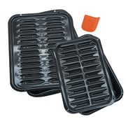 Range Kleen® Porcelain Broiler and Bake Pan Set, Black, 2/Pack