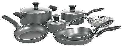 T-fal® Initiatives 10 Piece Dishwasher Safe Nonstick Aluminum Cookware Set, Gray