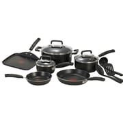 T-fal® Signature Total 12 Piece Nonstick Aluminum Cookware Set, Black