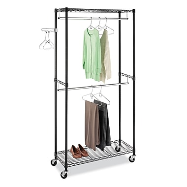whitmor supreme double rod rolling garment rack black