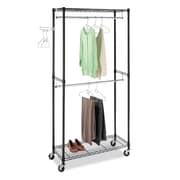 Whitmor Supreme Double Rod Rolling Garment Rack, Black