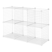 Whitmor Collapsible Wire Storage Cubes, White, 6/Set
