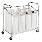"""Whitmor 36""""(H) x 20""""(W) x 33""""(D) 4 Section Laundry Sorter With Wheels; Chrome"""
