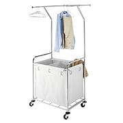 """Whitmor 70.7""""(H) x 33.5""""(W) x 24.3""""(D) Commercial Laundry Center With Wheels; Chrome"""