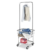 """Whitmor 70.3""""(H) x 25.5""""(W) x 20.75""""(D) Commercial Laundry Butler With Wheels, Chrome"""